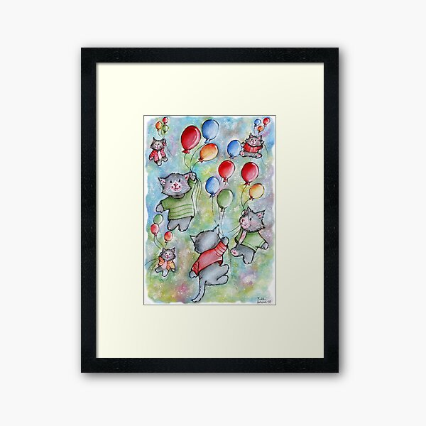 A sky full of stars and flying cats! Framed Art Print