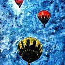 hot air balloon watercolour painting modern art print by derekmccrea
