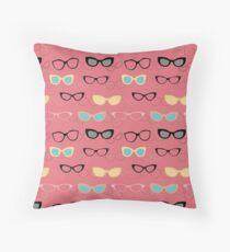 1950's Specs on Pink Flamingo Throw Pillow