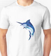 Blue Marlin Fish Jumping Low Polygon Unisex T-Shirt