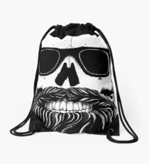 Ray's black bearded skull  Drawstring Bag