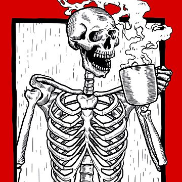 halloween coffee drinking skeleton  by gossiprag