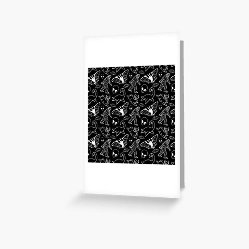 Cryptid-Muster (schwarzer Hintergrund) Grußkarte