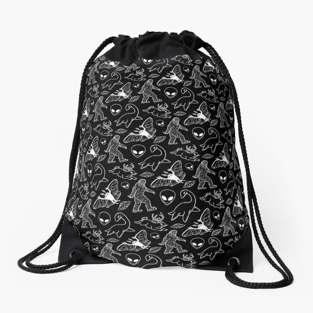 Cryptid Pattern (Black Background) Drawstring Bag