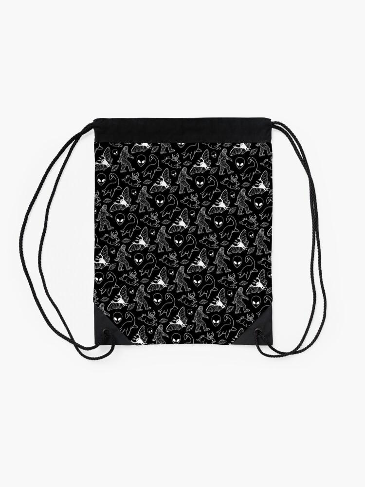 Alternate view of Cryptid Pattern (Black Background) Drawstring Bag