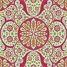 Poppy Pods Floral Mandala Arabesque Mint Red Marigold by clipsocallipso