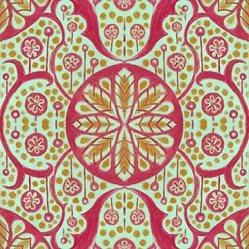 Poppy Pods Floral Mandala Pattern Mint, Red and Marigold by clipsocallipso