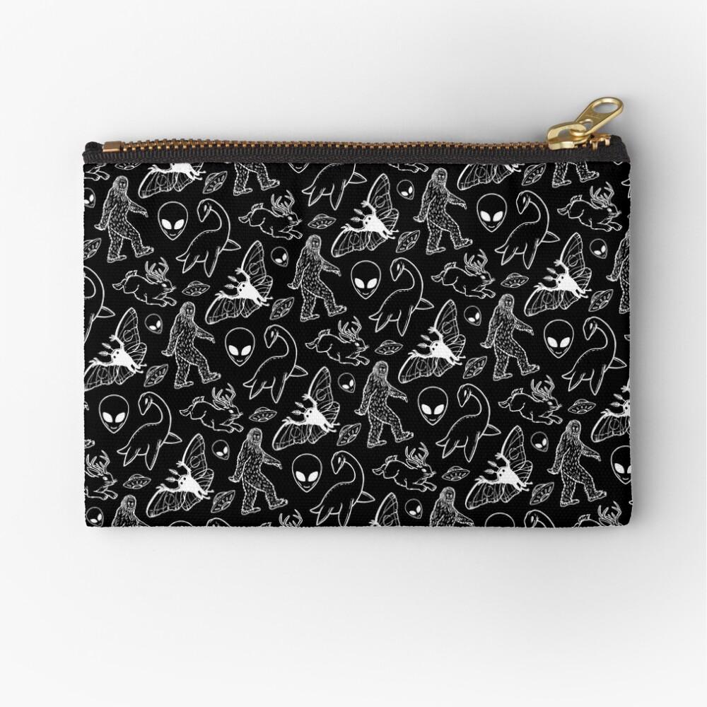 Cryptid-Muster (schwarzer Hintergrund) Täschchen