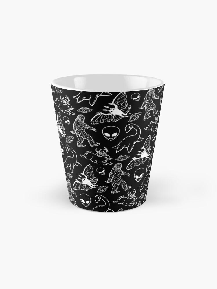 Alternate view of Cryptid Pattern (Black Background) Mug
