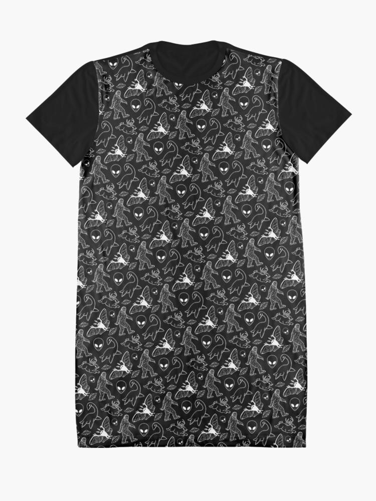 Alternative Ansicht von Cryptid-Muster (schwarzer Hintergrund) T-Shirt Kleid