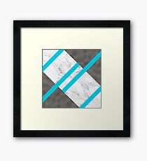Blue Striping, Marble and Silver Framed Print