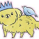 Sandy Puppy Dog with Blue Bird by zoel