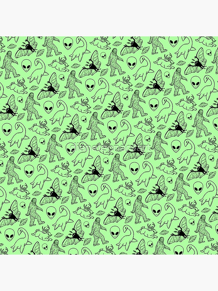 Cryptid Pattern (Green Background) by dianeleonardart