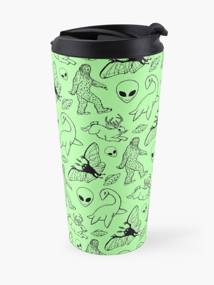 Alternate view of Cryptid Pattern (Green Background) Travel Mug