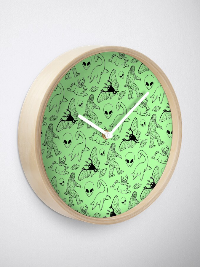 Alternate view of Cryptid Pattern (Green Background) Clock