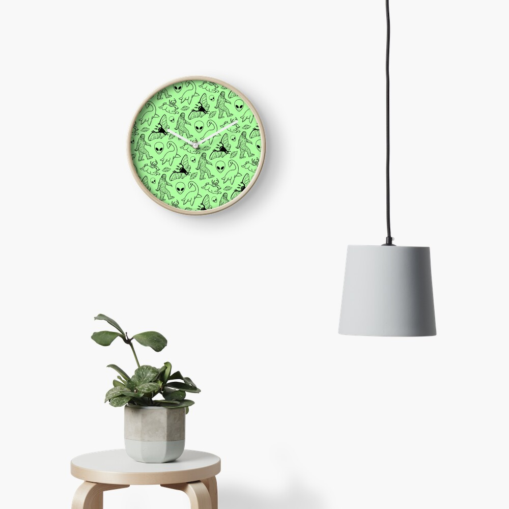 Cryptid Pattern (Green Background) Clock