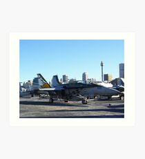 Fighter Jet USS Kitty Hawk Sydney Art Print