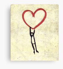 Flying Heart, Flying Boy, Romantic Canvas  Canvas Print