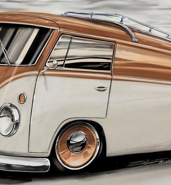 Dub van, retro bus, van life, wanderlust art by Pencilpusher55