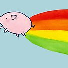 Flying Pig at the End of the Rainbow by zoel