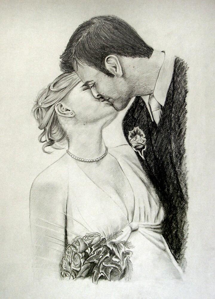 Sam & Ant's wedding kiss by Dana Sibera
