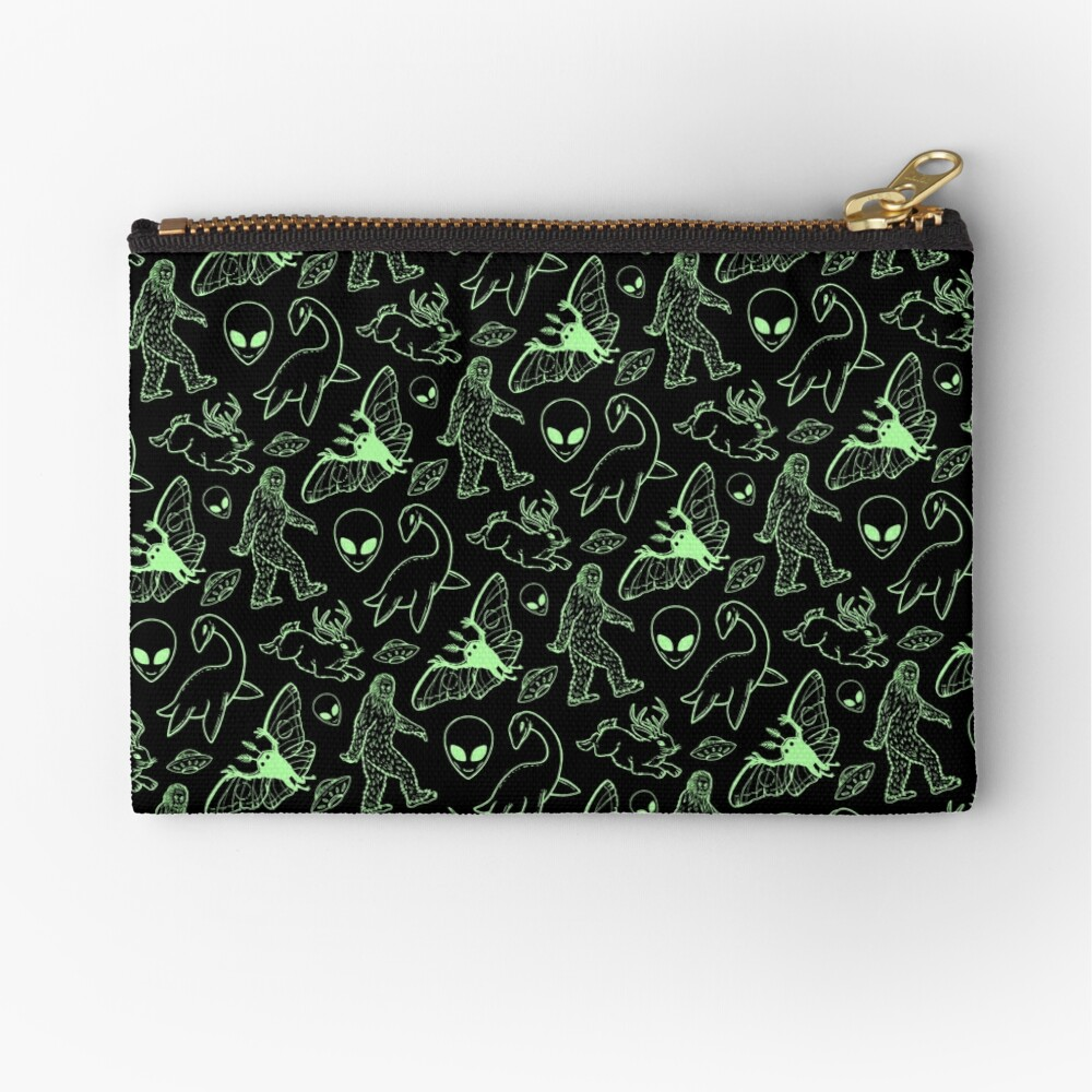 Cryptid Pattern (Green Lines) Zipper Pouch