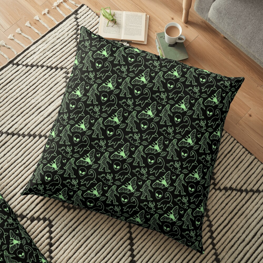 Cryptid Pattern (Green Lines) Floor Pillow