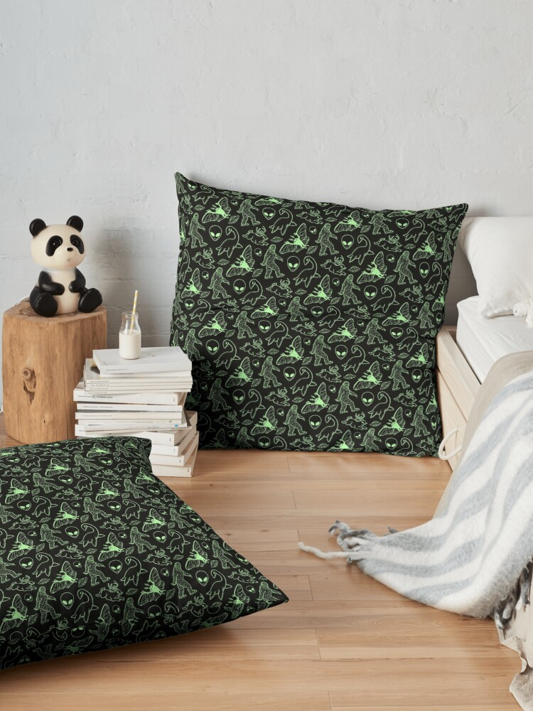 Alternate view of Cryptid Pattern (Green Lines) Floor Pillow