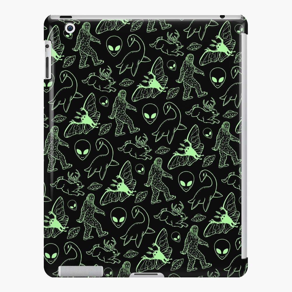 Cryptid Pattern (Green Lines) iPad Case & Skin