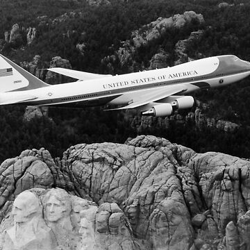 Air Force One flying over Mount Rushmore by warishellstore
