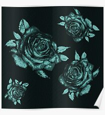 desaturated blue rose Poster