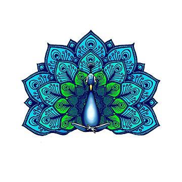 Boho Peacock Meditating  by jitterfly