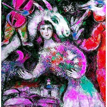 LADY WITH FLOWERS : Chagall Style Abstract Print by posterbobs