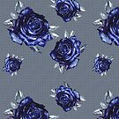 striped blue rose -white by Anthropolog