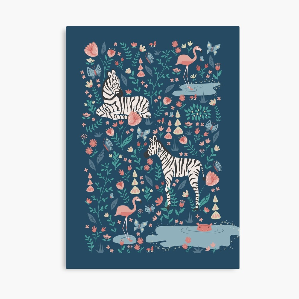 Wild Zebras in the Garden - Blue Canvas Print