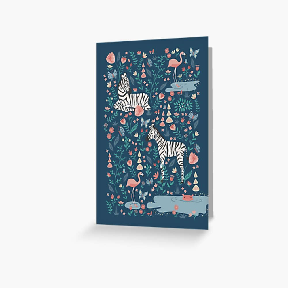 Wild Zebras in the Garden - Blue Greeting Card