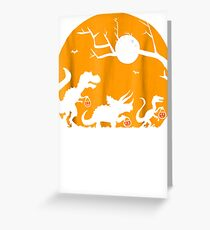 Halloween Trick Or Treat With Dinosaurs Silhouette Shirt Greeting Card