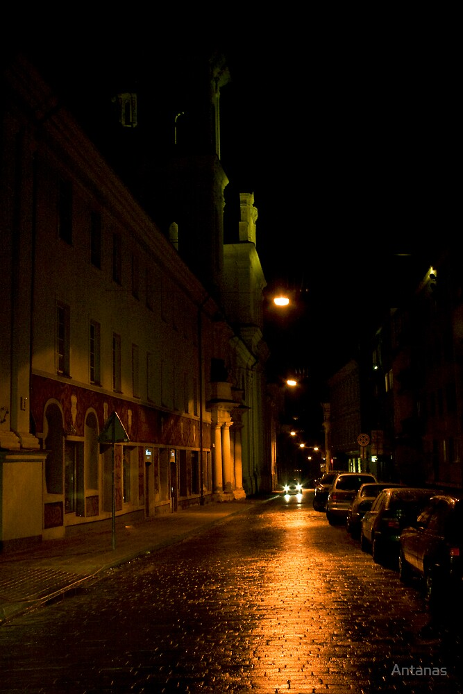 Car in street (My city)  by Antanas