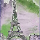 EIFFEL TOWER : Abstract Paris Chagall Style Poster Print by posterbobs