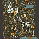 Zebras in Wild Fall Garden by latheandquill