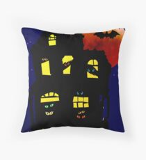 Halloween Mansion Throw Pillow