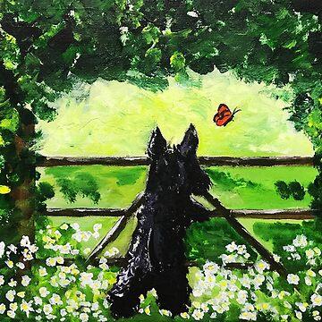 Scottie Dog chasing Butterfly by archyscottie