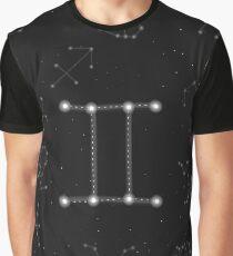 Gemini Sternzeichen Konstellation Design Grafik T-Shirt