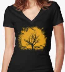 Tree Clearing Women's Fitted V-Neck T-Shirt