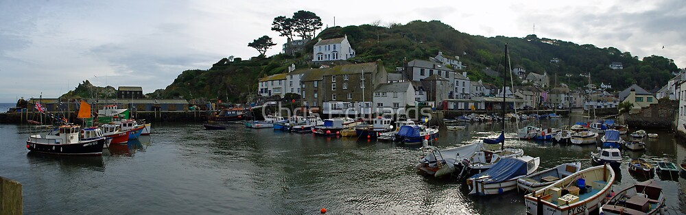 Polperro Harbour Panorama by Chris Edwards