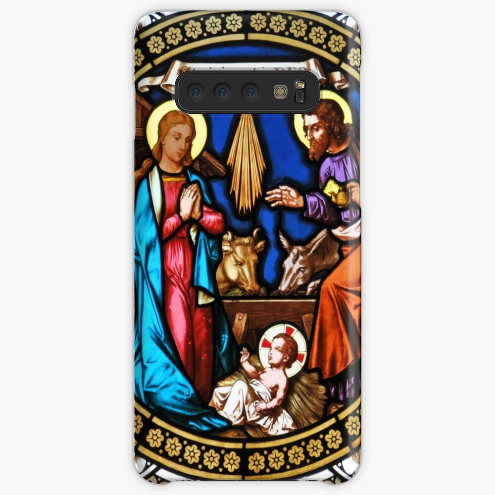 Holy Nativity Stained Glass Funda y vinilo para Samsung Galaxy