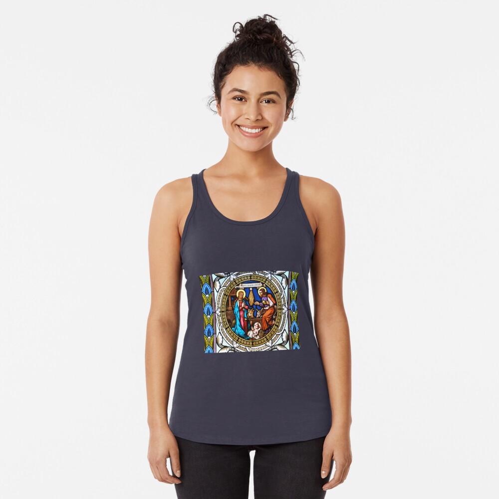 Holy Nativity Stained Glass Camiseta con espalda nadadora