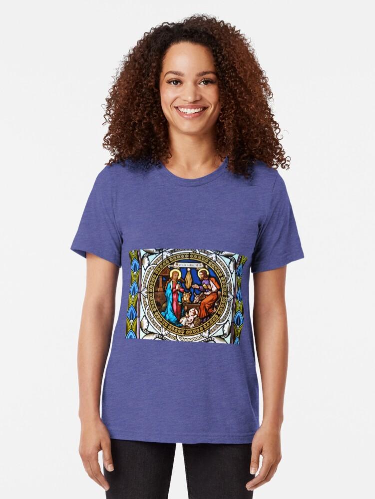 Vista alternativa de Camiseta de tejido mixto Holy Nativity Stained Glass