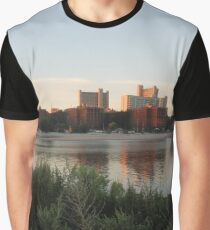 #city #skyline #water #cityscape #urban #river #downtown #sky #panorama #building #architecture #buildings #park #skyscraper #blue #view #reflection #sunset #lake #travel #town #sunrise #landscape Graphic T-Shirt