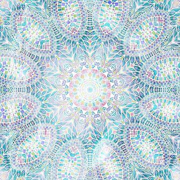 Blue and Pink boho Snowflake Mandala by Zand